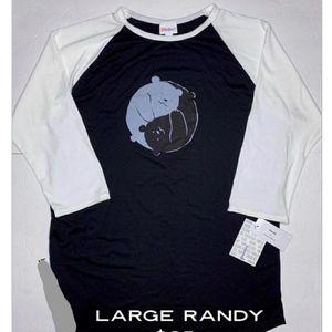 LulaRoe L Randy Baseball T Unisex Polar Bears NWT